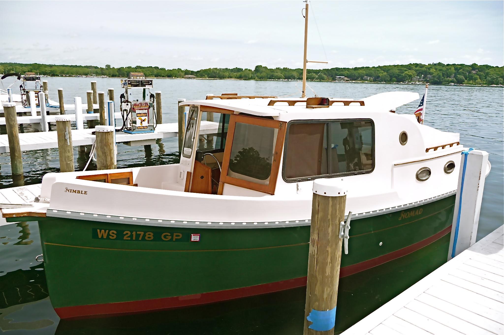 of the pocket trawler SeaBell, now for sale at Geneva Lake, WI ...: https://applewoody.wordpress.com/tag/pocket-trawler